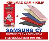 Samsung C7 Delikli Sert Dot File Kılıf+kırılmaz Cam Ekran Koruyuc
