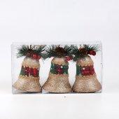 3lü Lux Köpük Çan Yılbaşı Ağacı Süsü Gold