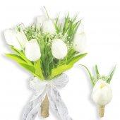 Lale Ve Yeşil Bahar Dalları Gelin El Buketi Ve Yaka Çiçeği