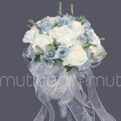 Mavi Çiçekli Kurdelalı Gelin Buketi