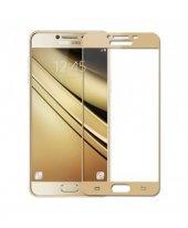 Samsung Galaxy C7 Full Kapatan Dayanıklı Cam Ekran Koruyucu Gold