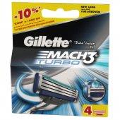 Gillette Tıraş Bıçağı Mach 3 Turbo 4lü Başlık Yeni Ambalaj