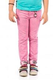 Ottomama Kız Çocuk Ters Çiçek Baskılı Pantolon Pembe Renk