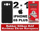 Iphone 6s Plus Rubber Lüks Silikon Kılıf+kırılmaz Cam Ekran Koruy
