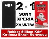 Sony Xperia Xa Ultra Rubber Lüks Silikon Kılıf+kırılmaz Cam Ekran