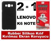 Lenovo K6 Note Rubber Lüks Silikon Kılıf+kırılmaz Cam Ekran Koruy