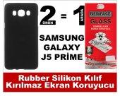 Samsung J5 Prime Rubber Lüks Silikon Kılıf+kırılmaz Cam Ekran Kor