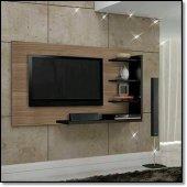 Dekoratif Duvara Monte Tv Ünitesi Ceviz Siyah Renk