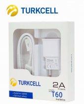 Turkcell T60 Şarj Aleti Cihazı + Usb Şarj Kablosu Data Kablo