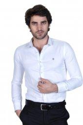 Brango 12550 3 Dar Kesim Desenli Beyaz Gömlek