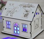 ışıklı Ev Şeklinde Ahşap Dekoratif Süs Kumbara Hediyelik Tasarım