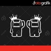 Otografik Taçlı Domo Kun Sağ Sol Sticker Seti