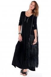 Kadın Deri Bağcıklı Elbise