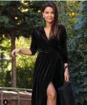 Kadın Kadife Kravuze Elbise