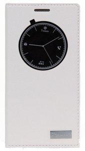 Samsung Galaxy S6 Manyetik Kapaklı Pencereli Beyaz Kılıf