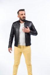 Dericlub Ahmet Siyah 100 Gerçek Kuzu Derisi Erkek Mont