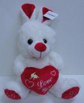 30cm Sevimli Kalpli Peluş Tavşan, Sevgiliye Hediye, Peluşcu Baba