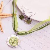 Btk011 Gümüş Renk Yeşil Katmanlı Zamak Kolye 2li Set