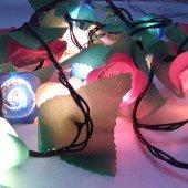 91289 3 Yılbaşı Çam Ağacı Süsleme Işıkları Gül Şekilli