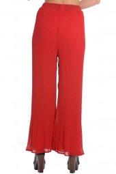 Pliseli İspanyol Paça Bayan Pantolon Kırmızı 0019
