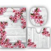 Melay Beyaz Ahşapta Kiraz Çiçekleri Banyo Paspas Klozet Set