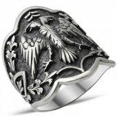 925 Ayar Gümüş Çift Başlı Kartal Okçu Zihgir Başparmak Yüzük