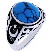 925 Ayar Gümüş Turkuaz(Firuze) Taşlı Ay Yıldızlı E...