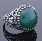 925 Ayar Yuvarlak Yeşil Akik Taşlı Gümüş Erkek Yüzük