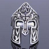 925 Ayar Gümüş Miğfer Figürlü Erkek Yüzük
