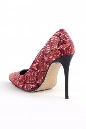 Stylish Bordo Yılan Deresi Desenli Bayan Stiletto Ayakkabı