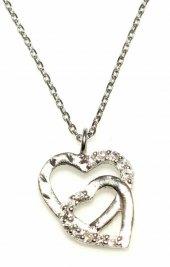 925 Ayar Gümüş Kalemli Çift Kalp Kolye, Beyaz Beyaz Taş