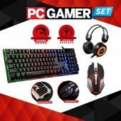 Oyuncu Ekipman Seti Mekanik Hisli Klavye+gaming Mouse+kulaklık