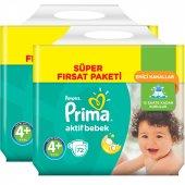 Prima Bebek Bezi Aktif Bebek Süper Fırsat Paketi 4+ Beden 144 Adet