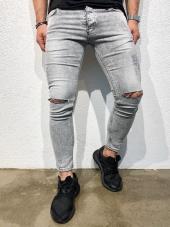 2y Buz Gri Diz Lazer Kesme Kot Pantolon Slimfit Jeans