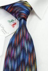 Renkli Motif Desen İpek Kravat İk293