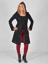 Nidya Moda Büyük Beden Kapşonlu Kuşaklı Siyah Tunik Ceket 1016çs