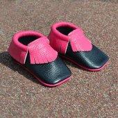 Klasik Makosen Bebek Ayakkabı Siyah Fuşya Cv 82