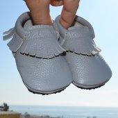 Klasik Makosen Tabanlı Bebek Ayakkabı Gri Cv 393