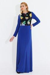 Nidya Moda Büyük Beden Pili Yaka Üst Bahar Kombin Uzun Saks Abiye Elbise 4046sx