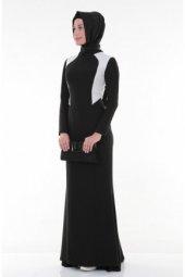 Nidya Moda Tesettür Krem Kombinli Krep Balık Abiye Siyah Elbise 4048ks