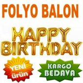 Happy Bırthday Folyo Balon Altın Dore Renk 40 Cm