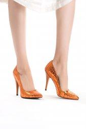Erb Turuncu Desenli Bayan Stiletto Ayakkabı