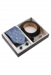 Mavi Beyaz Kravat Kemer Kol Düğmesi Erkek Hediye Seti Kkk149
