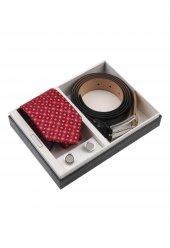 Kırmızı Kravat Kemer Kol Düğmesi Erkek Hediye Seti Kkk113