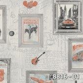 Royal Port 8816 01 Turuncu Çerçeve Desenli Duvar Kağıdı