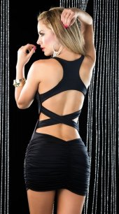 Siyah Arkası Çapraz Şık Elbise