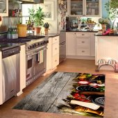Rugrita 3d Mutfak Deseni Kaydırmaz Taban Halı