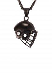 Siyah Renk Rugby Kask Paslanmaz Çelik Kolye Kly42