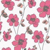 Vision 250 E Pembe Çiçek Desenli Duvar Kağıdı