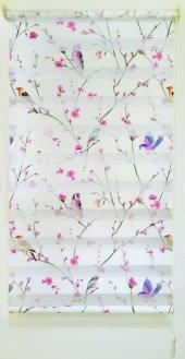 Mrs.pillow Kuşlu Bahar Desenli Zebra Perde 60x200 Ebadında